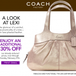 Coach Printable Coupon: 30% Off at Coach Factory Store