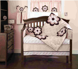 Bean Sprout Pink Mod Daisy Crib Bedding