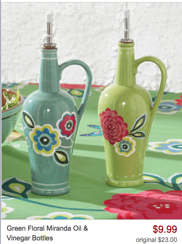 Green Floral Miranda Oil & Vinegar Bottles