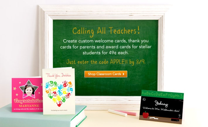 Tiny Prints: $.49 Custom Greeting Cards for Teachers (2 Days Only)