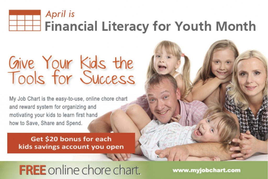 MyJobChart.com: $20 Bonus Into Each Child's Account for Opening a Savings Account