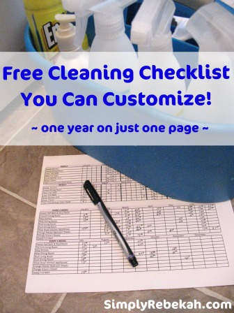 Free Customizable One Year Cleaning Checklist