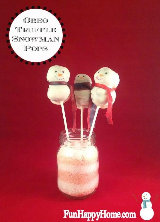 Easy Oreo Truffle Snowman Pops from FunHappyHome.com