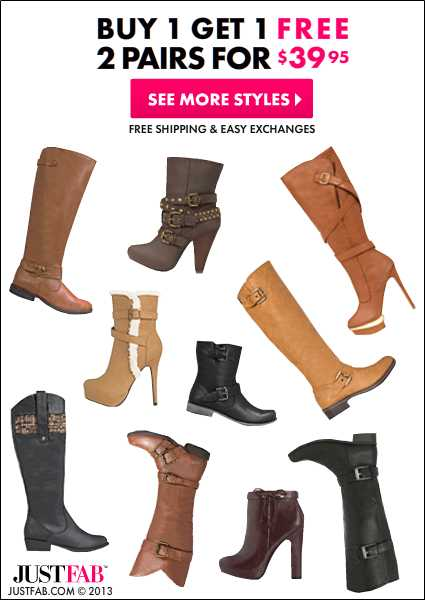 JustFab: 2 Pairs of Boots for $39.95
