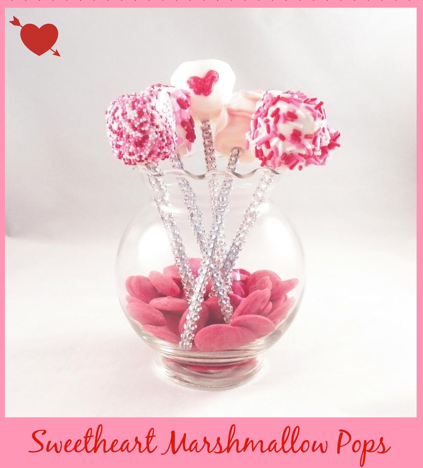 Valentine's Day Sweetheart Marshmallow Pops on bejewled sticks