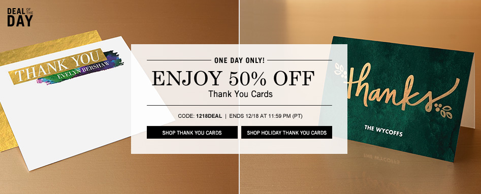 Tiny Prints: 50% Off Thank You Cards