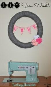 DIY Yarn Wreath from FunHappyHome.com