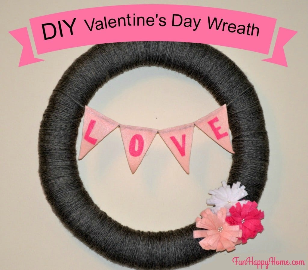 Easy Valentine's Day Wreath made with Yarn and Felt from FunHappyHome.com