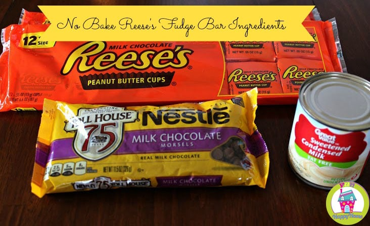 Ingredients for No Bake Reese's Fudge Bars
