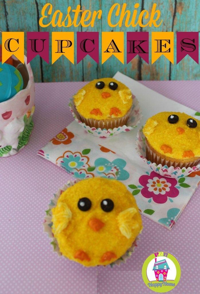 Easter Chick Cupcakes FunHappyHome.com