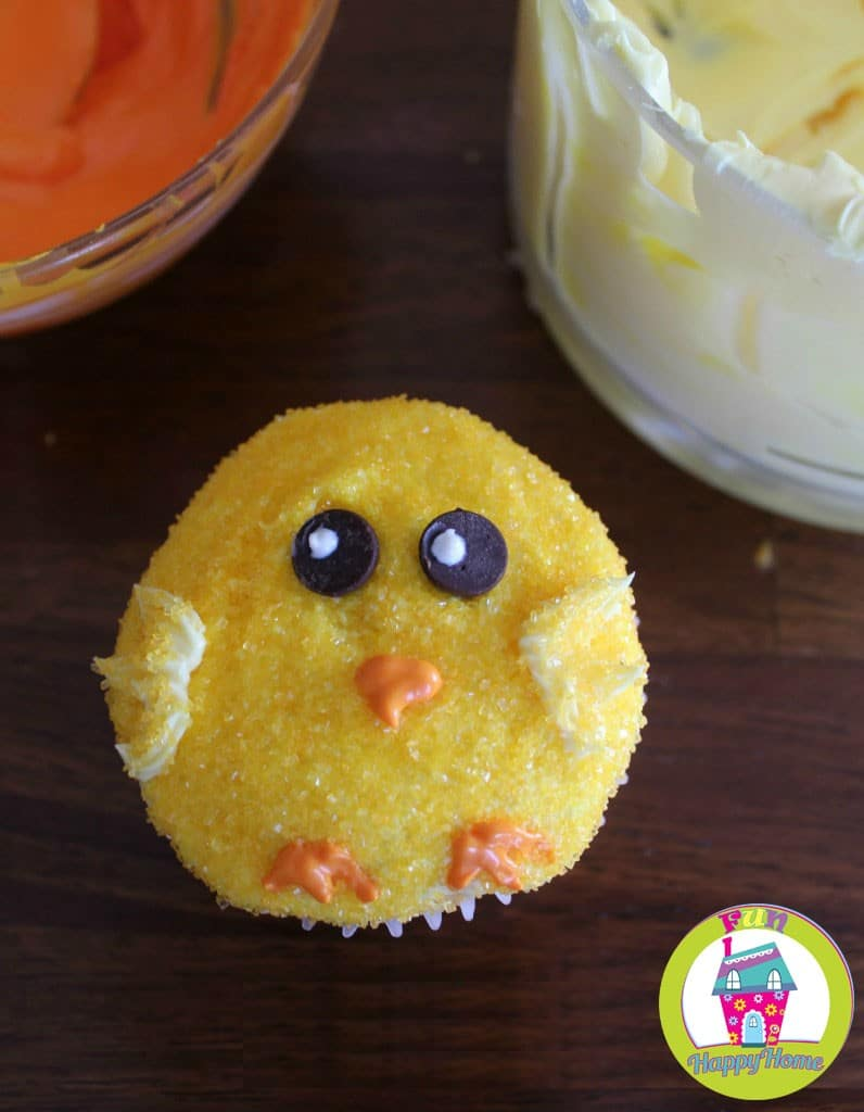 Easter Chick Cupcakes In Process 4 FunHappyHome.com