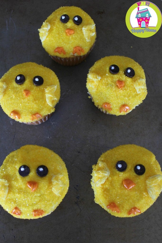Easter Chick Cupcakes In Process 5 FunHappyHome.com