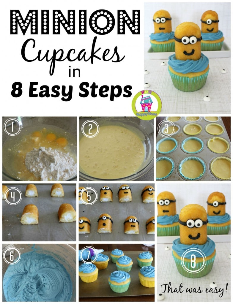 Minion Cupcakes in 8 Easy Steps from FunHappyHome.com