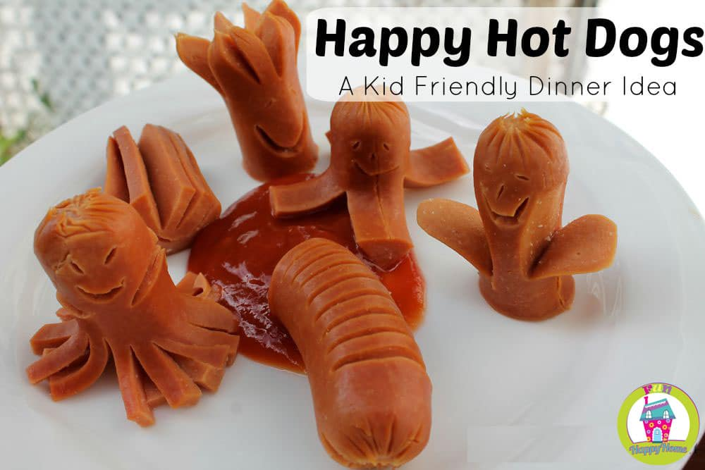 Happy Hotdogs A Kid Friendly Dinner Idea from FunHappyHome.com