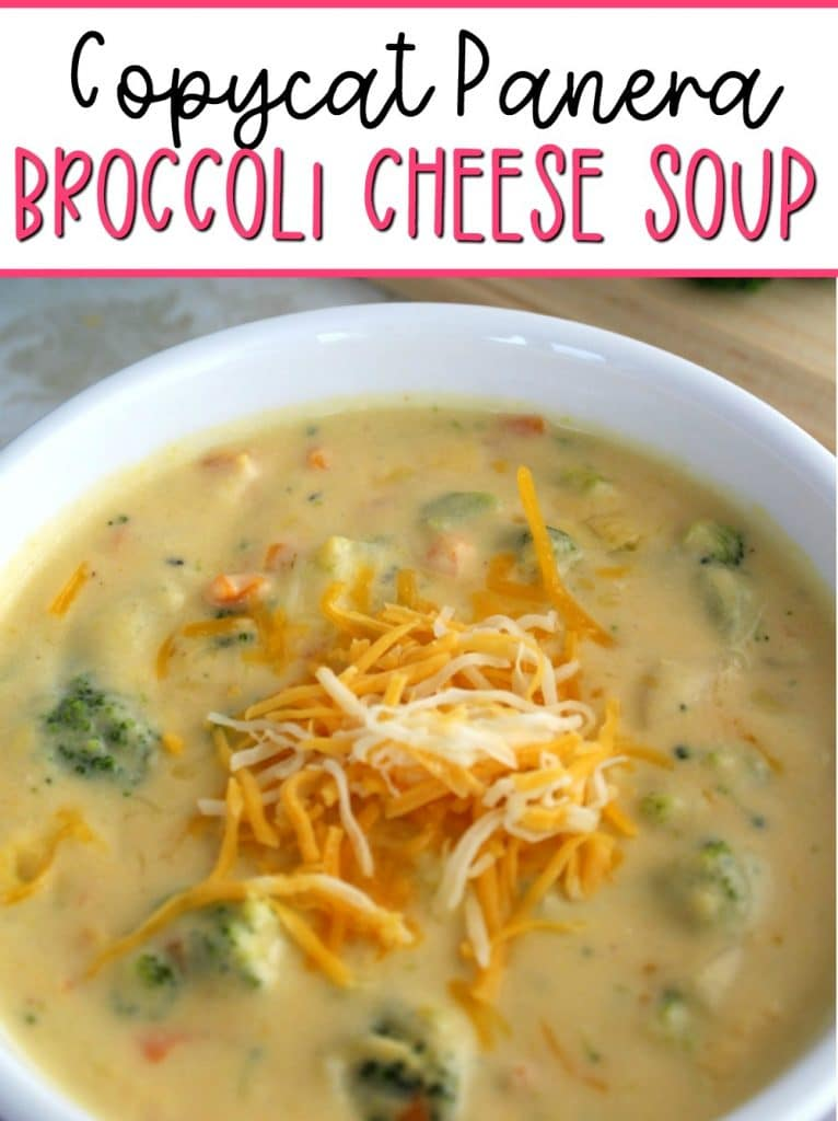 copycat panera broccoli cheddar soup recipe with cheese on top