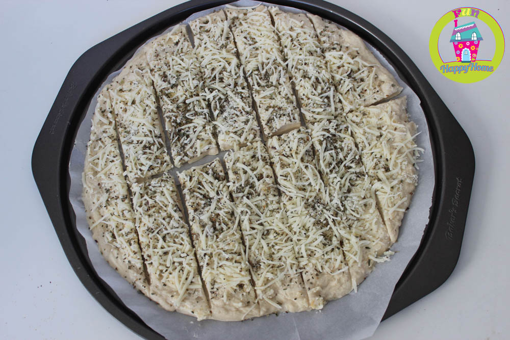 Cheesy Garlic Breadsticks Before Baking