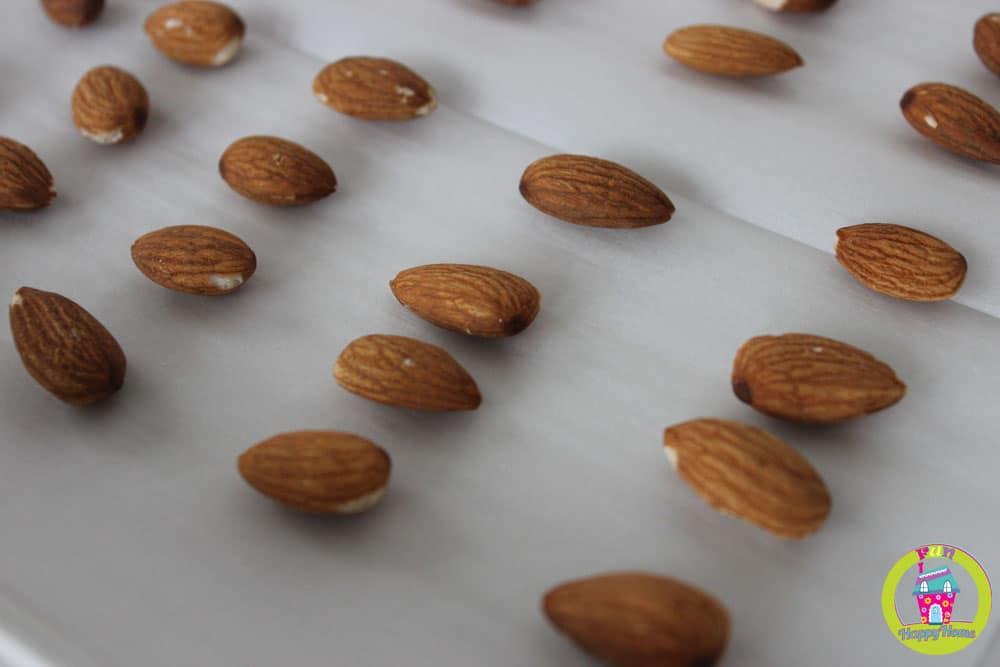 Roasted Almonds for Copycat Almond Joy Recipe  FunnyHappyHome.com