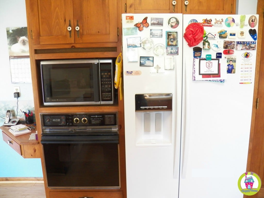 This is a photo I took during the walk through of our house. All of the stuff on the fridge and walls is the previous owners.