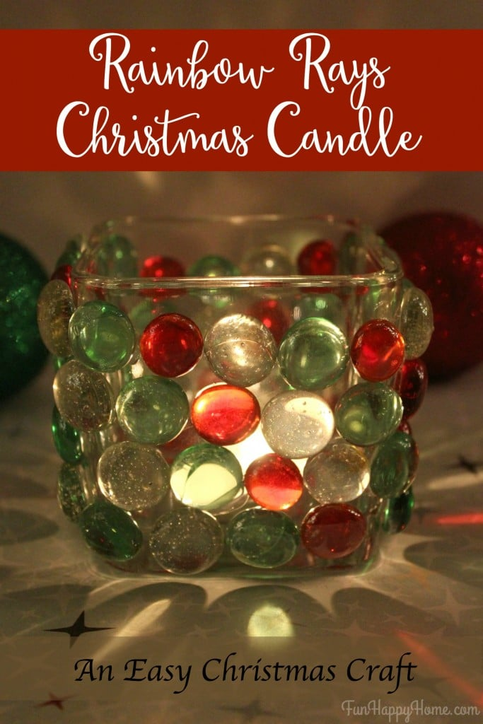 Easy Christmas Craft Rainbow Rays Christmas Candle from FunHappyHome.com