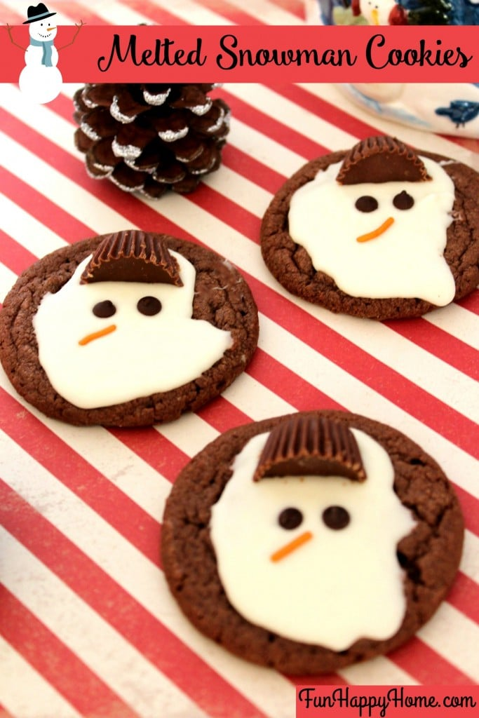 Melted Snowman Cookies FunHappyHome.com