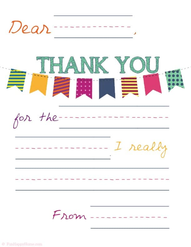 Printable Thank You For Kids from FunHappyHome.com