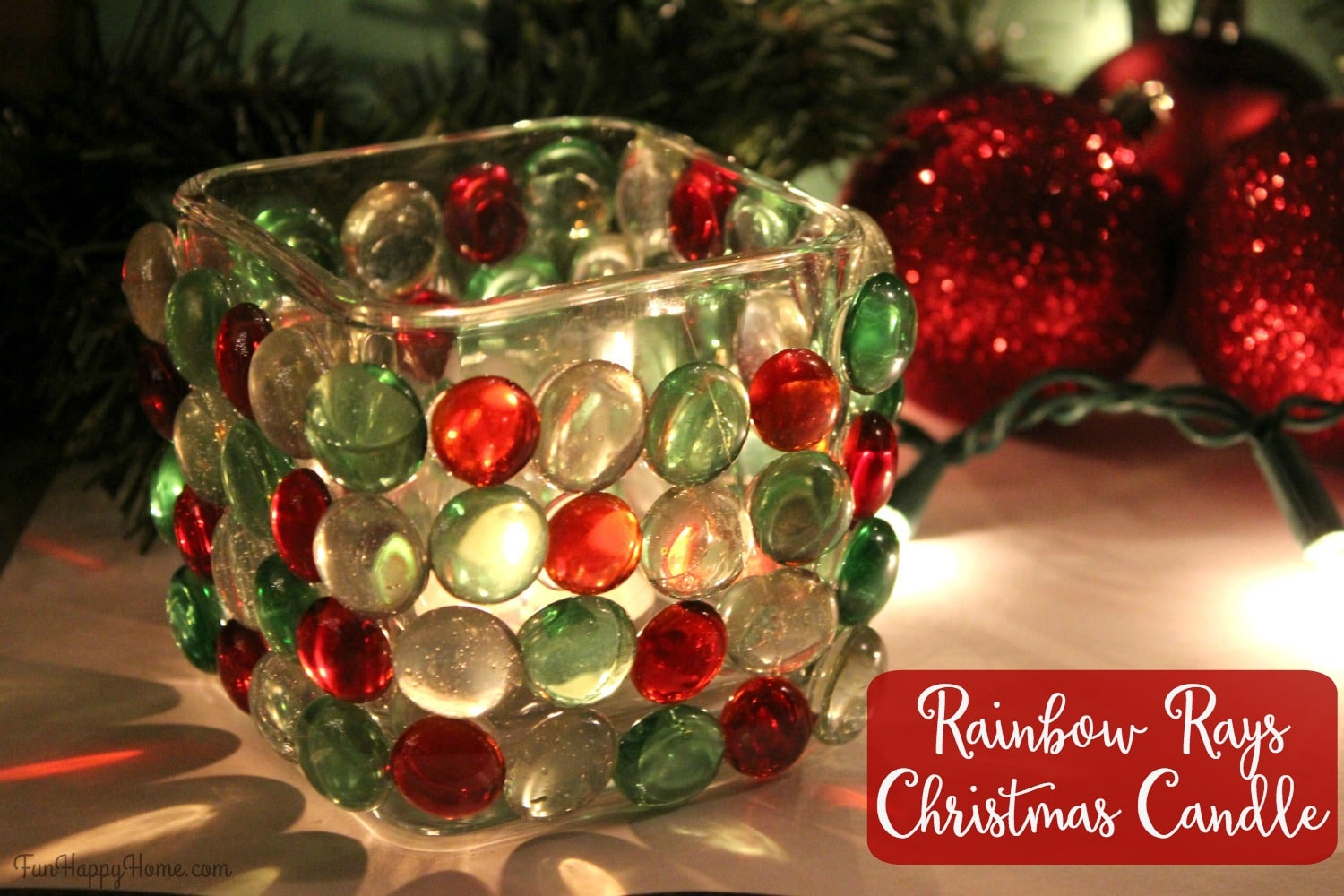Rainbow rays christmas candle easy christmas craft fun for How to make christmas candle holders