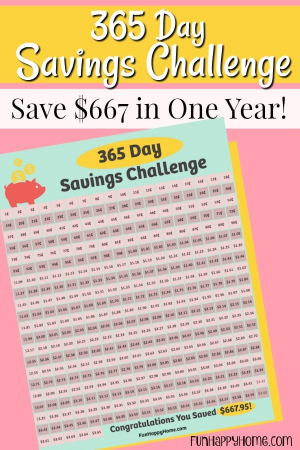 Free Printable 365 Day Saving Challenge - Penny Saving Printable Challenge To Help You Save $667 in One Year