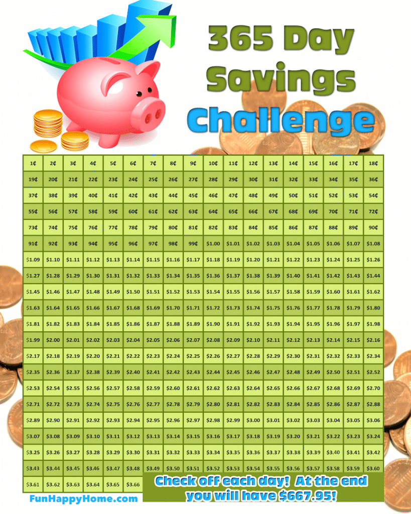 365 Day Savings Challenge and a FREE Printable