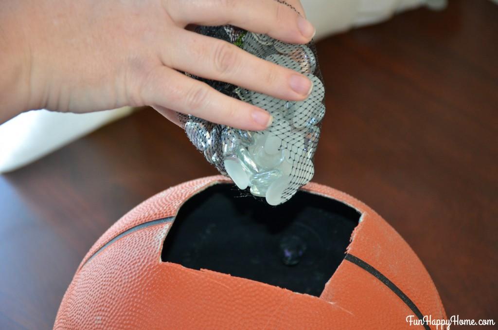 Add gems to basketball for Basketball Centerpiece