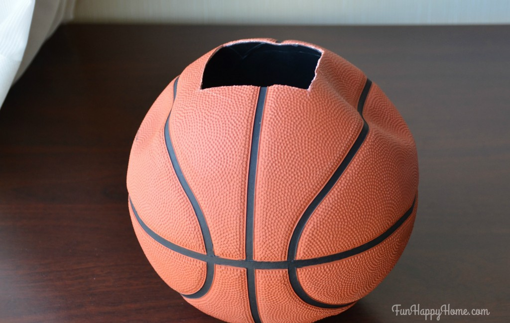 Basketball with square cut out for DIY Basketball Centerpiece