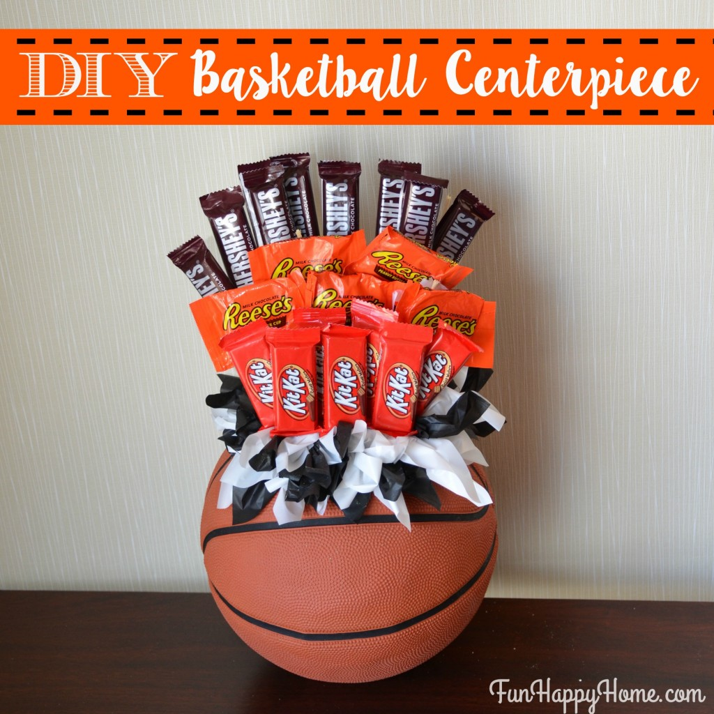 DIY Basketball Centerpiece with Candy from FunHappyHome.com