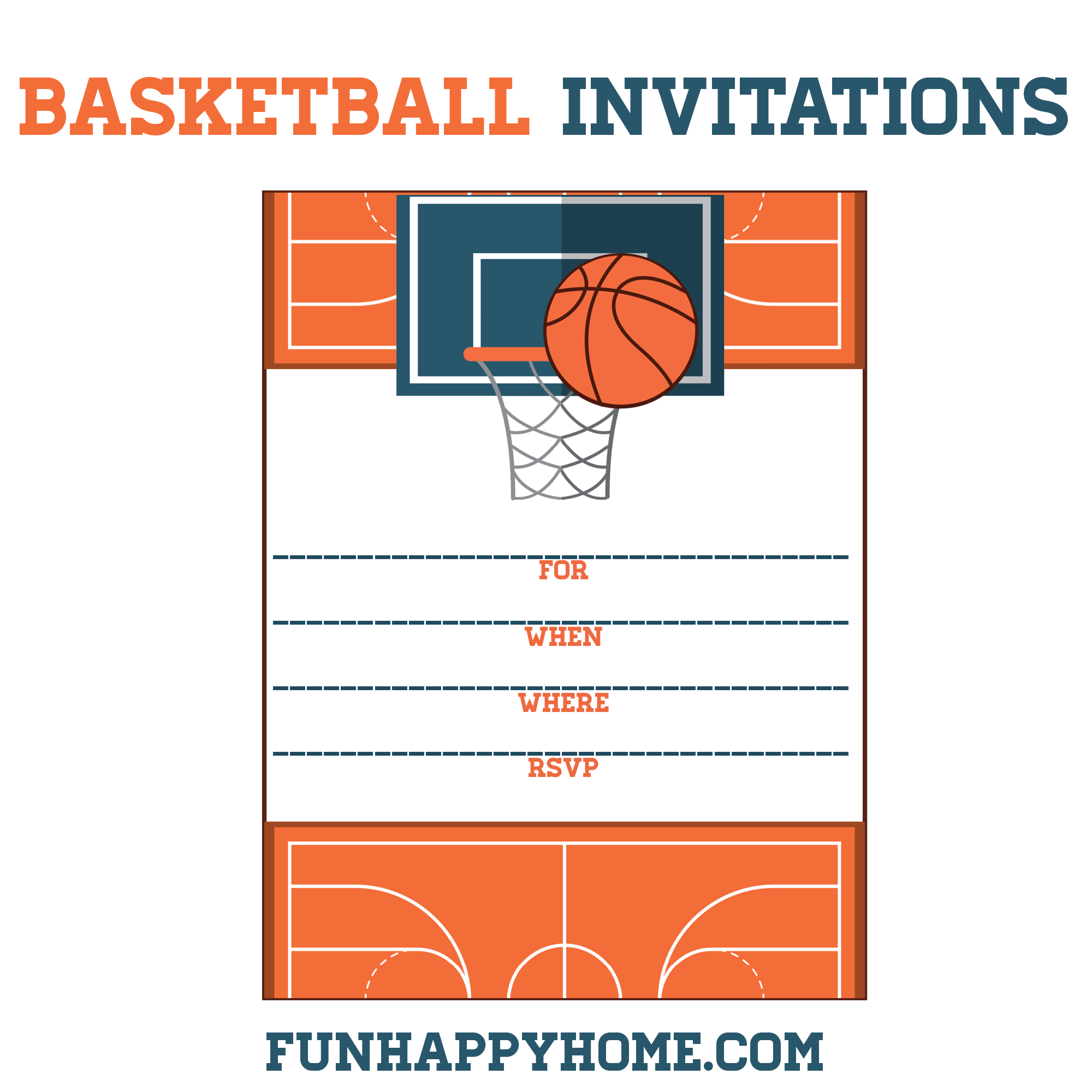 free printable basketball themed party invitations fun happy home