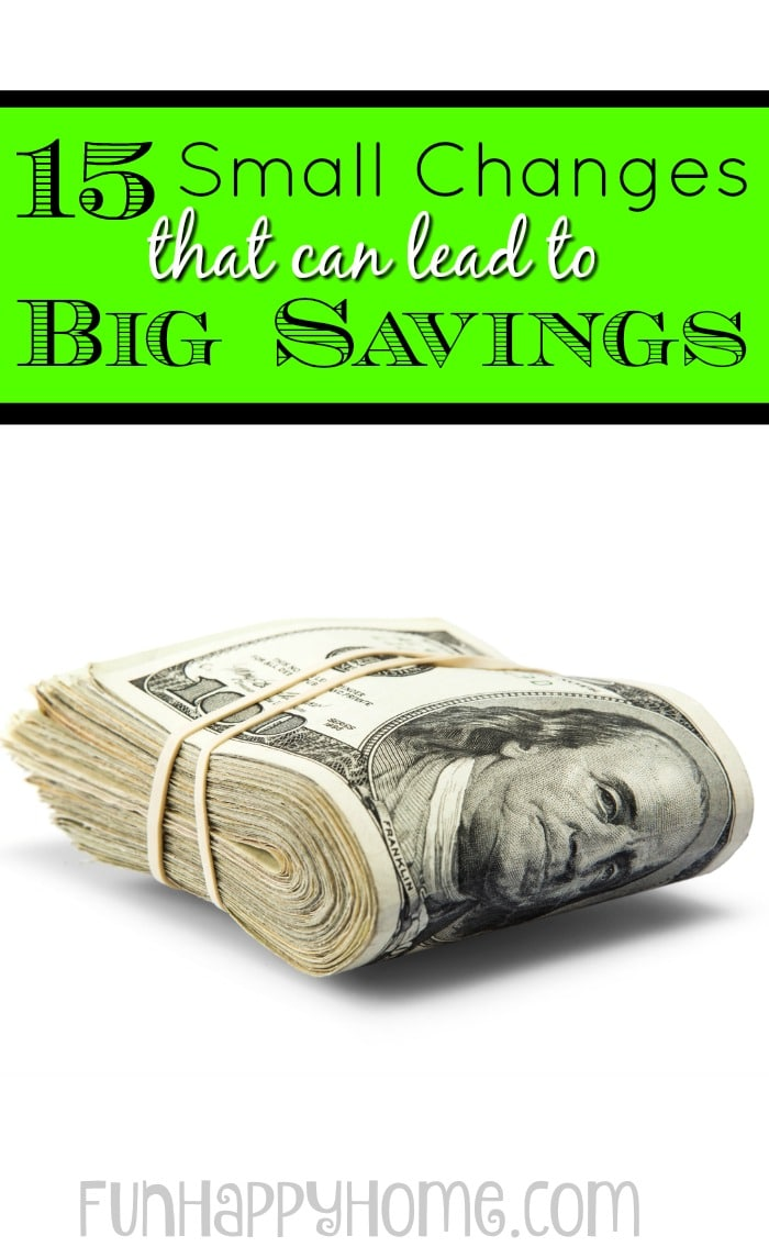 Do you wish you had more money at the end of the money? Is your emergency fund needing a boost? Check out these 15 Small Changes that can lead to Big Savings!