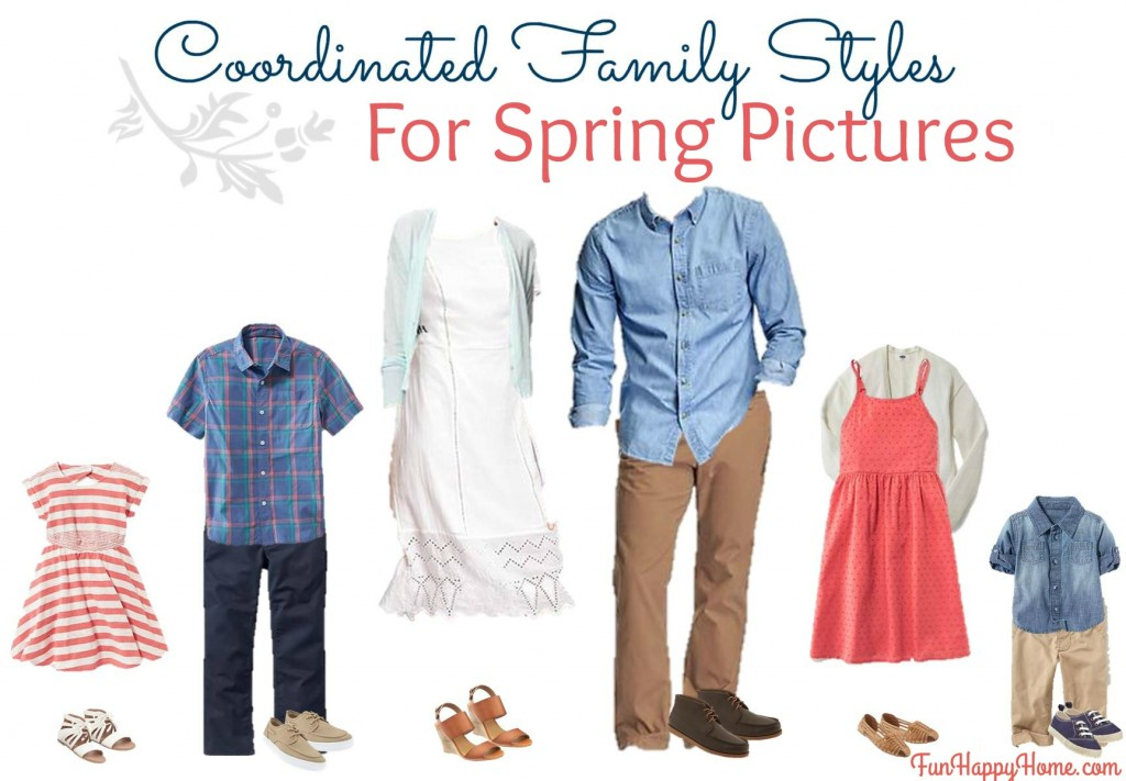 Coordinated Family Styles for Spring Pictures from FunHappyHome.com