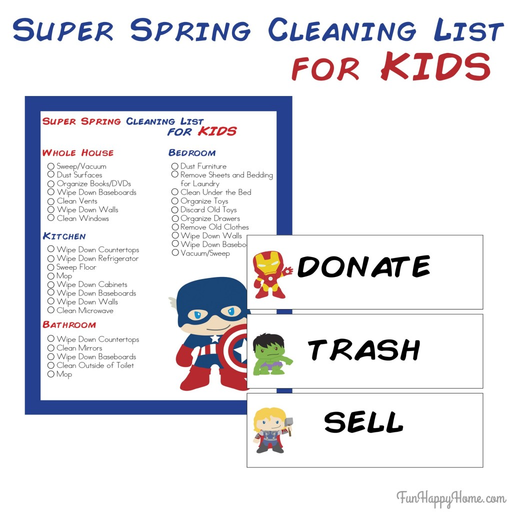 Super Hero Spring Cleaning List for Kids From FunHappyHome.com