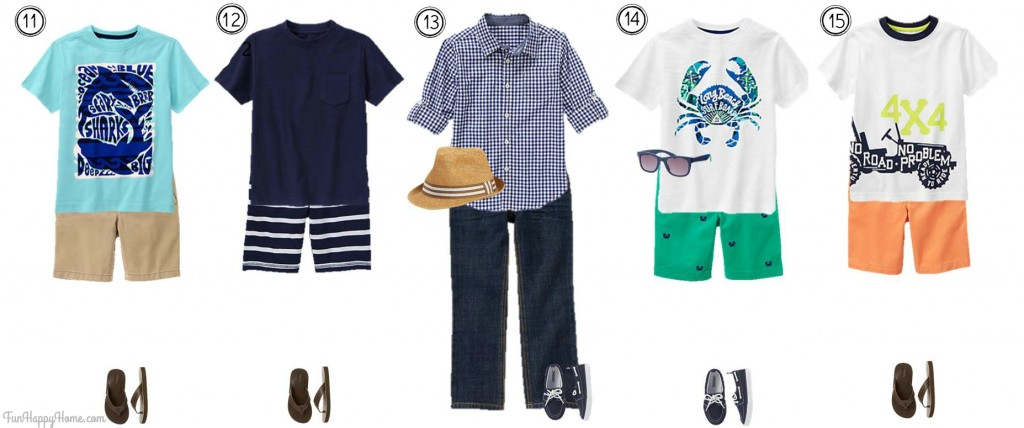 Boys Mix & Match Gymboree Summer Styles Outfits 11-15 from FunHappyHome.com