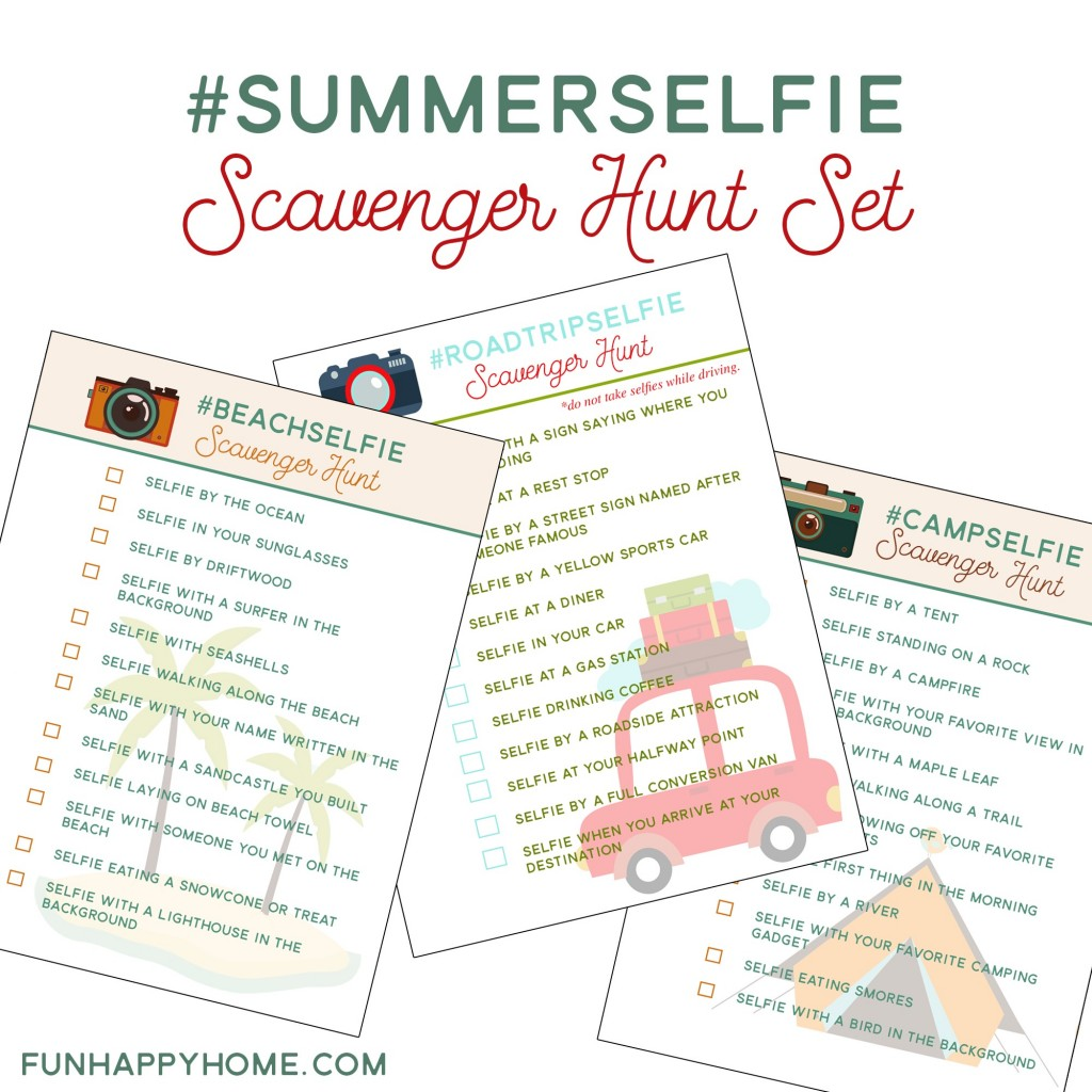 Free Printable #SummerSelfie Scavenger Hunt Set from FunHappyHome.com