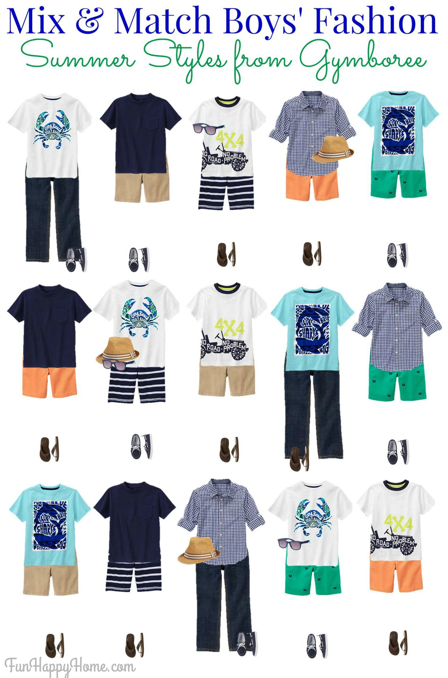 boys mix and match summer wardrobe from gymboree fun happy home. Black Bedroom Furniture Sets. Home Design Ideas