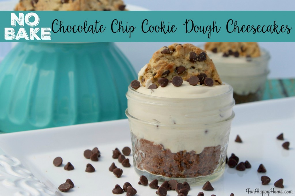 No Bake Chocolate Chip Cookie Dough Cheesecake from FunHappyHome.com