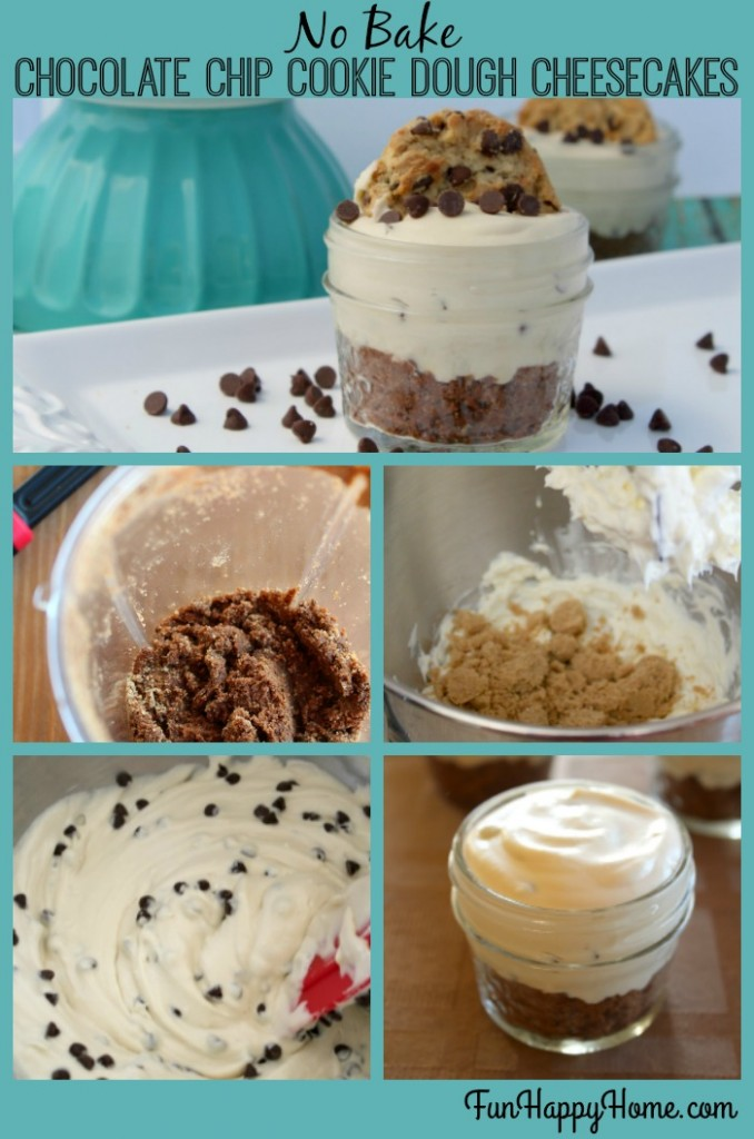 No Bake Chocolate Chip Cookie Dough Cheesecakes Step By Step Recipe ...