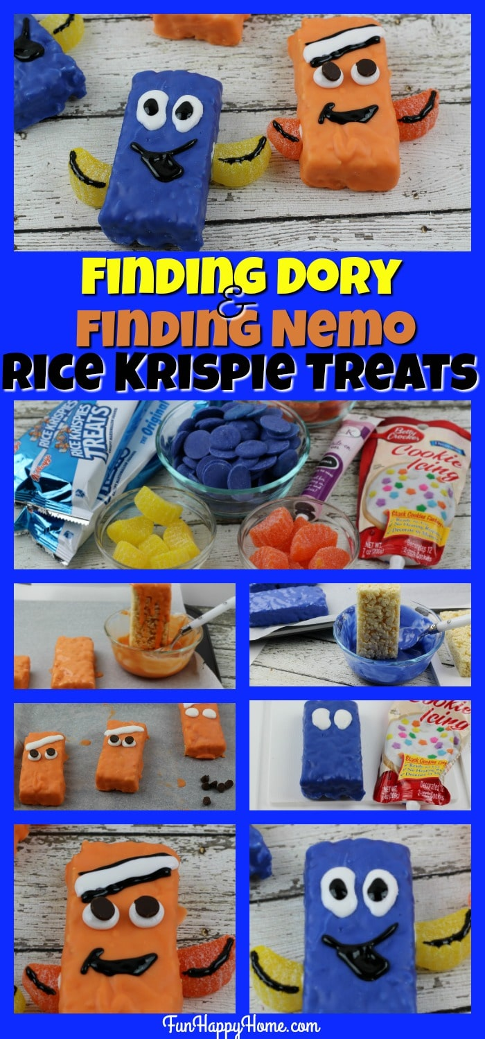 Finding Dory and Finding Nemo Rice Krispie Treats from FunHappyHome.com