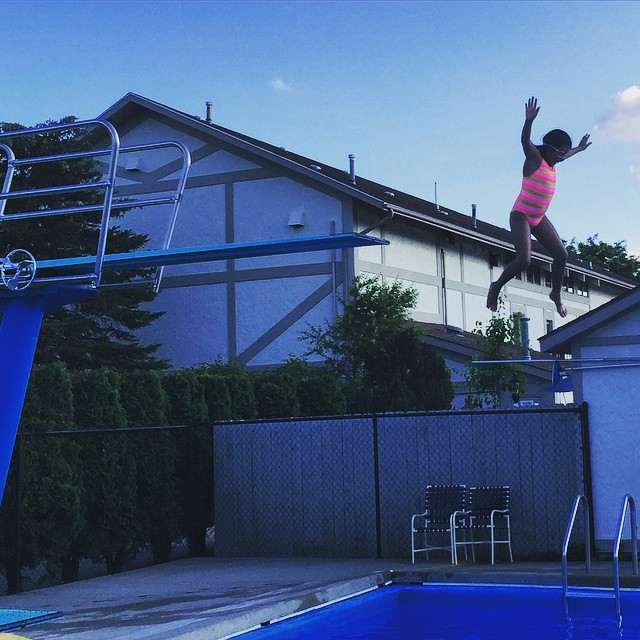 Shayna jumping off the high dive