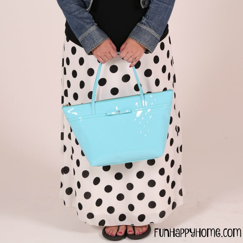 Polka Dot Lucy with aqua Kate Spade purse
