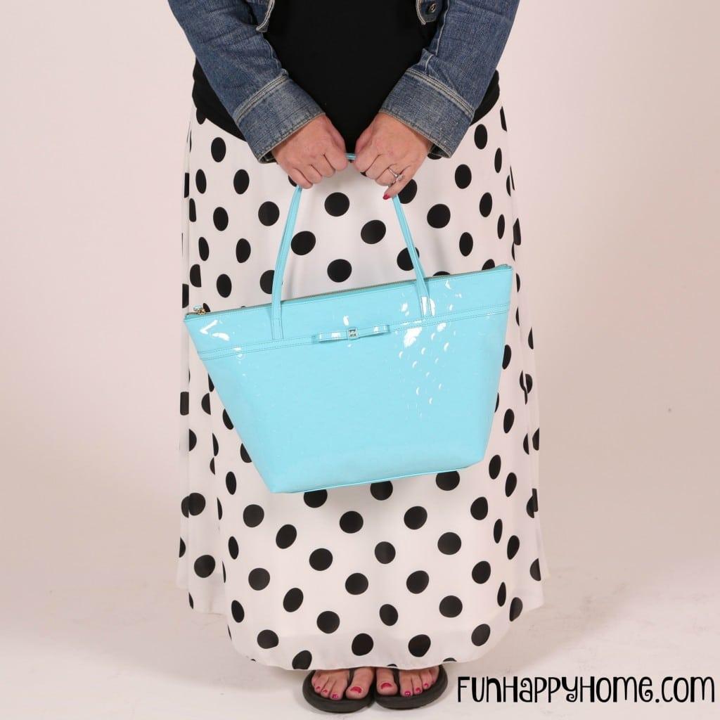 Polka Dot Lucy with aqua Kate Spade purse