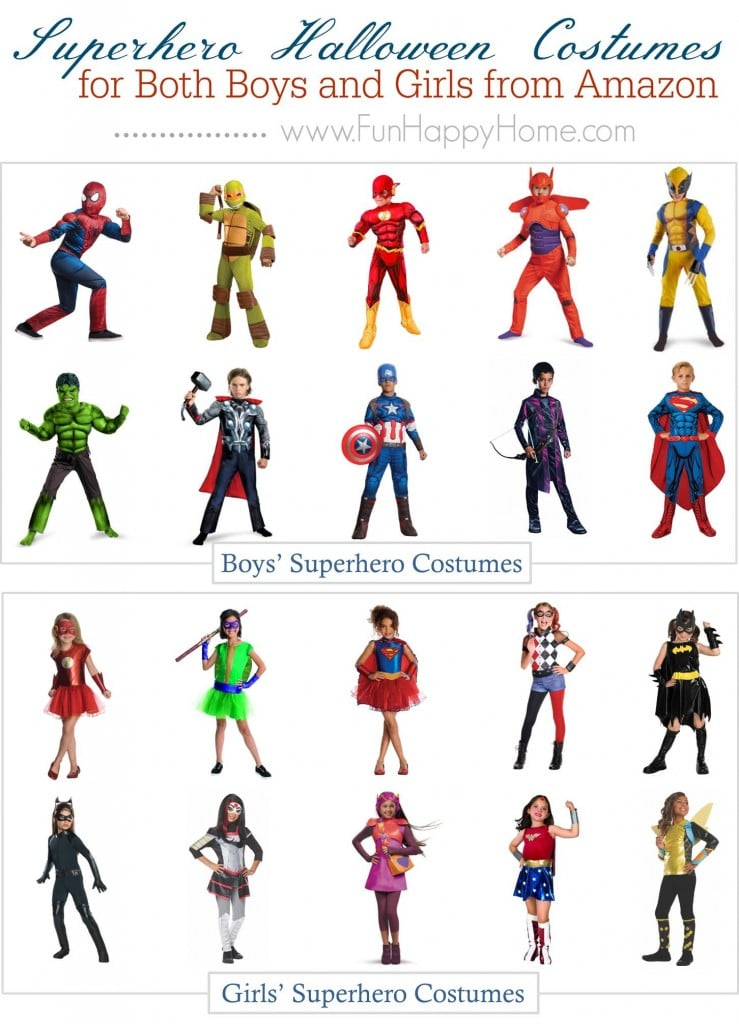 Your kids will LOVE these Superhero Costumes! Choose from 10 Girls Superhero Costumes and 10 Boys Superhero Costumes! Perfect for Halloween!