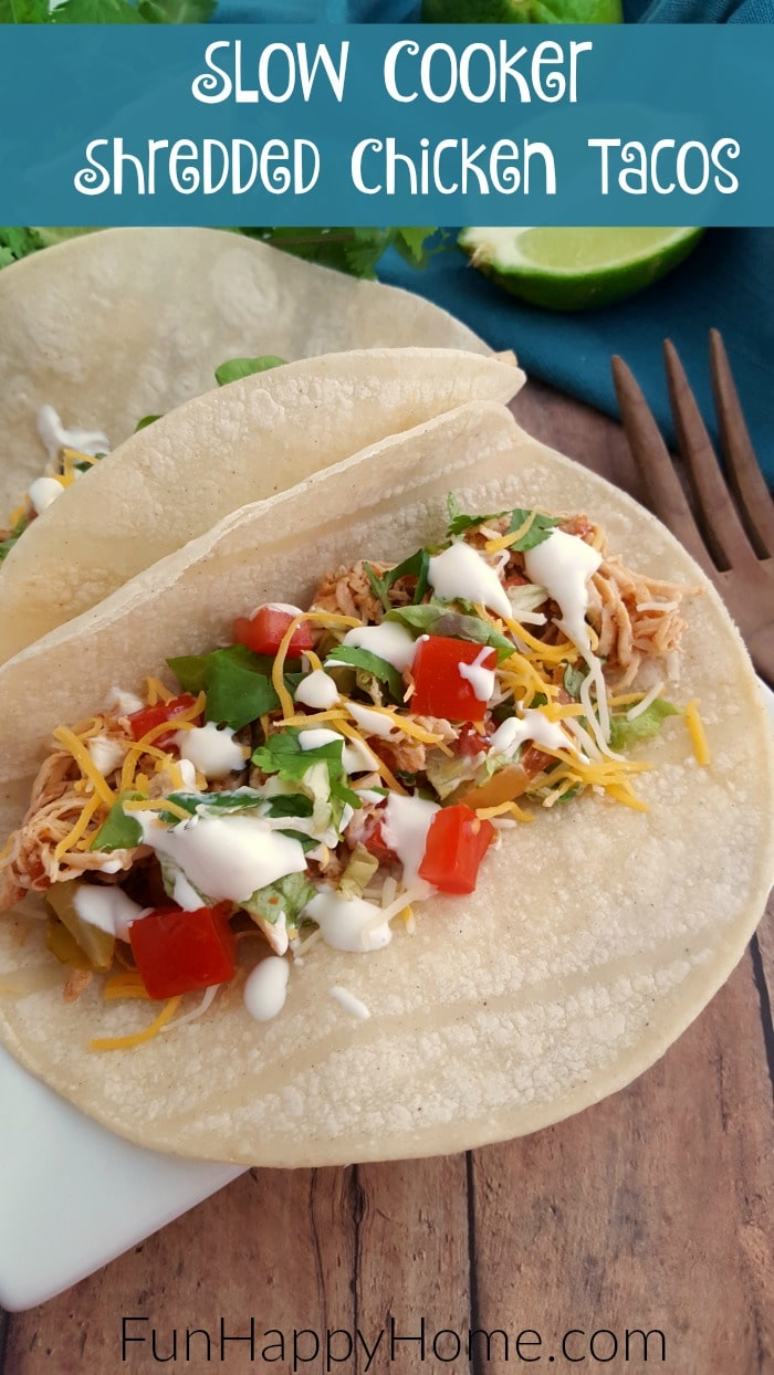 Slow Cooker Shredded Chicken Tacos are a super easy and budget-friendly meal planning recipe your family will love! Add this to your menu this week!