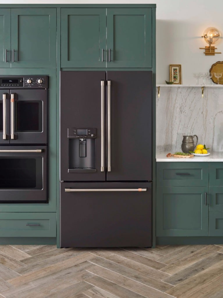 green cabinets with cafe matte collection in black