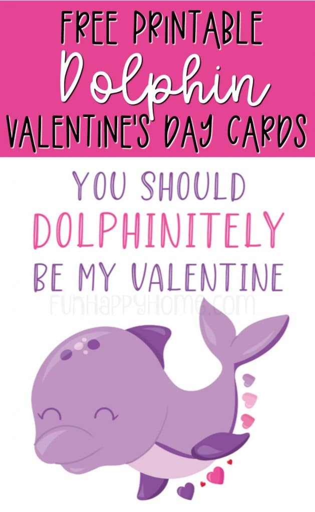 This dolphin valentine is part of a set of free printable Valentine's Day cards with sea animals on them.