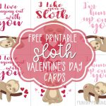 Free Printable Valentine Day Cards with Cute Sloths