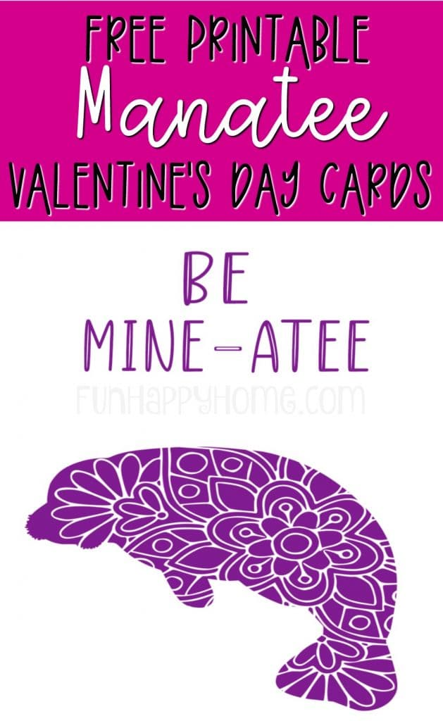 This manatee valentine is part of a set of free printable Valentine's Day cards with sea animals on them.